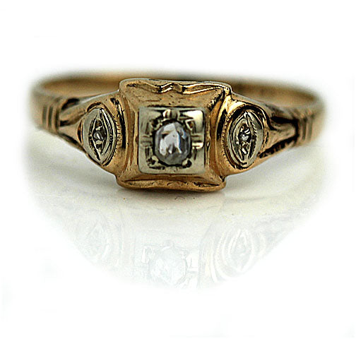 1940's Vintage Rose Cut Diamond Ring