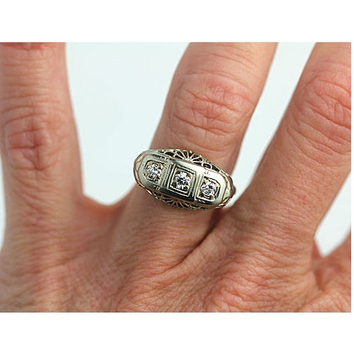 Authentic Vintage Three Stone Ring with Open Work Gallery