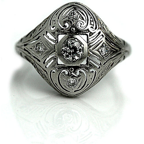 Antique Diamond Dome Ring 18 Kt White Gold