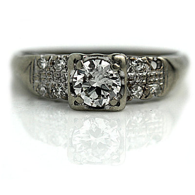 Double Row Old European Cut Diamond Engagement Ring