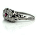 Vintage Three Stone Ruby Diamond Ring