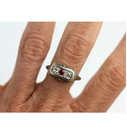 Synthetic Ruby & Diamond Three Stone Ring