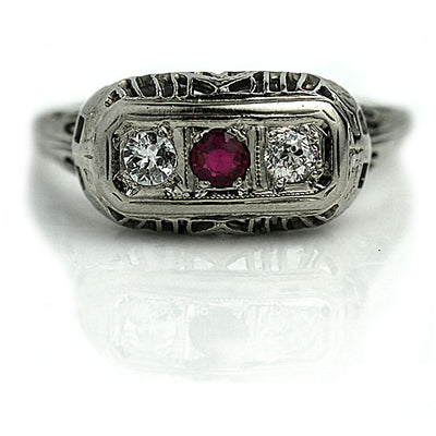 Synthetic Ruby & Diamond Three Stone Ring - Vintage Diamond Ring