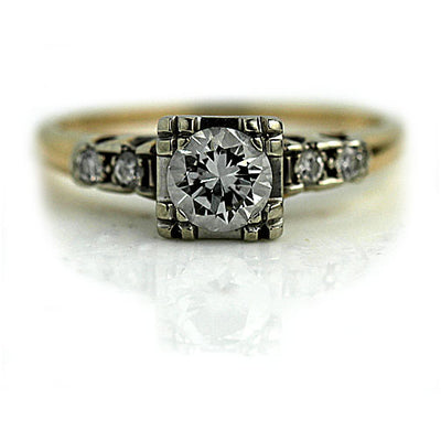 Two Tone Square Diamond Engagement Ring with Side Stones