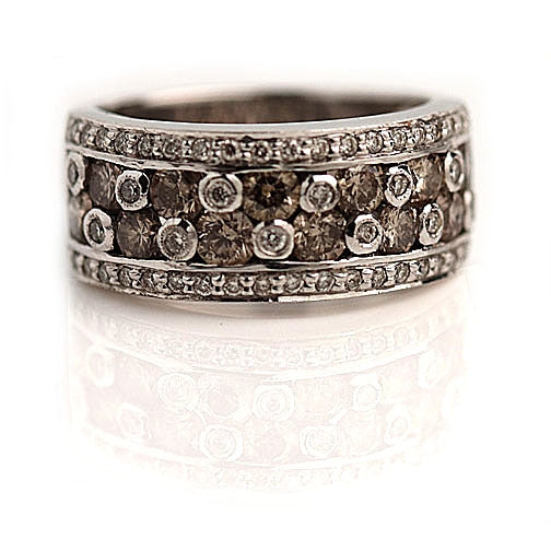 1.90 Carat Estate Fancy Brown Diamond Wedding Band