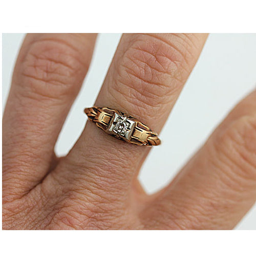 Vintage Two Tone Solitaire Engagement Ring