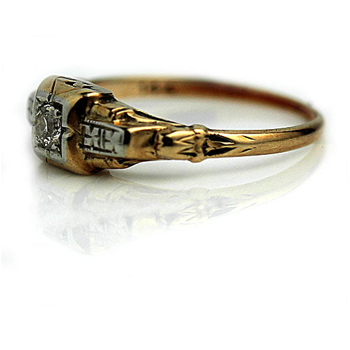 1940's Vintage Two-Tone Solitaire Diamond Ring
