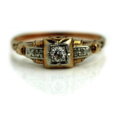 1940s Retro Two-Tone Solitaire Diamond Ring