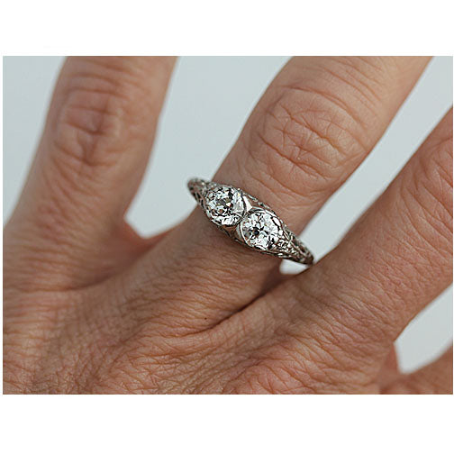 Art Deco Platinum Twin Stone Diamond Ring