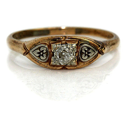 Old Mine Cut Diamond Engagement Ring with Side Engravings