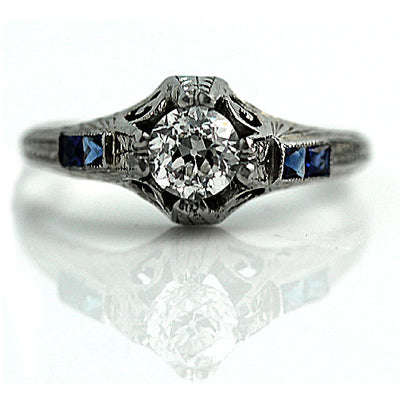 Diamond & Calibre Cut Sapphire Engagement Ring