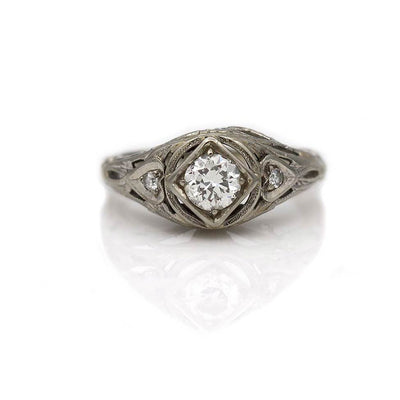 Antique Diamond Engagement Ring with Heart Motif