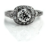 1.02 Carat GIA Art Deco Engagement Ring F SI2