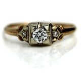 .25 Carat Mid-Century Two-Tone European Cut Diamond Ring