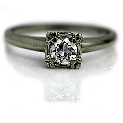 Vintage Prong Set Solitaire Diamond Engagement Ring