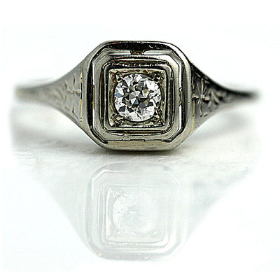 Antique Two Tiered Square Engagement Ring