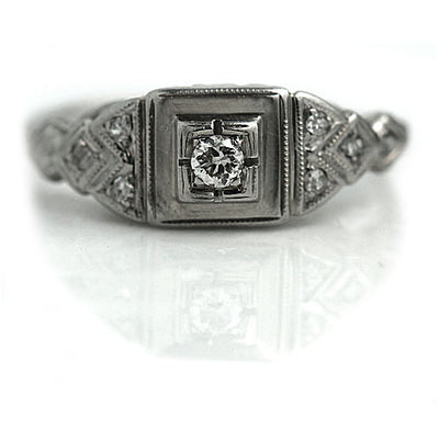 Petite Geometric Square Engagement Ring with Milgrain