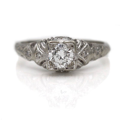 Vintage Transitional Cut Square Diamond Engagement Ring