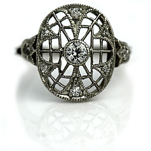 Edwardian Open Diamond Dinner Ring in Platinum