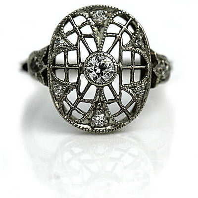 Edwardian Open Faced Dinner Ring in Platinum