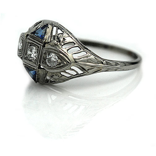 Antique European Cut Diamond Sapphire Ring