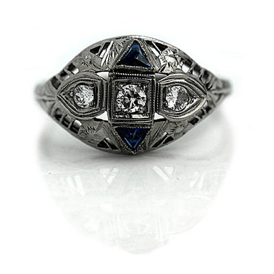 Edwardian Diamond & Sapphire Dome Ring - Vintage Diamond Ring