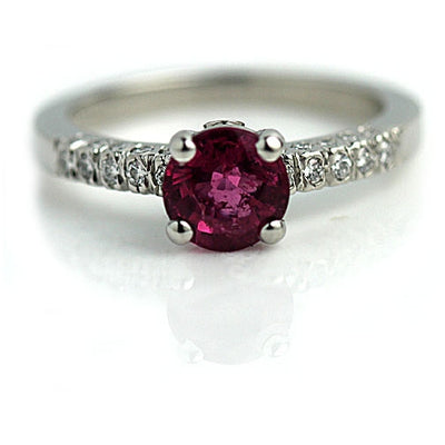 Vintage Tourmaline Engagement Ring in Platinum - Vintage Diamond Ring