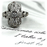 Antique Diamond Navette Ring 18 Kt White Gold