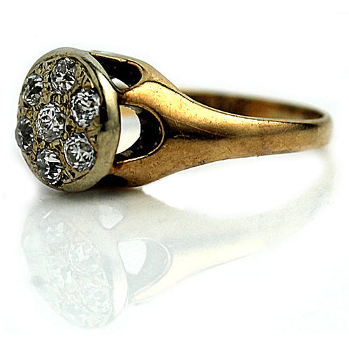 Yellow Gold Round Shaped  Diamond Cluster Ring