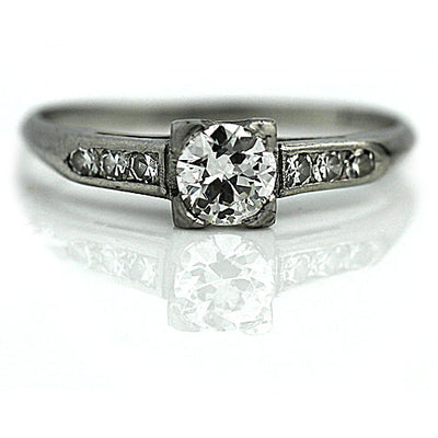 1950s Diamond Engagement Ring with Side Stones