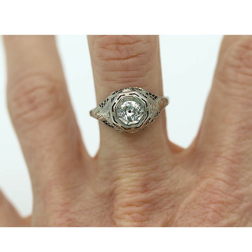Vintage Octagonal Solitaire Engagement Ring