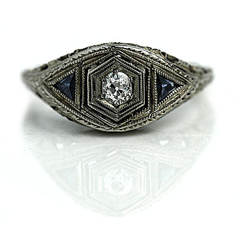 Old European Cut Engagement Ring with Sapphire Side Stones