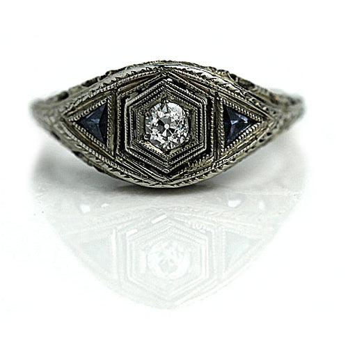 Art Deco .20 Carat Diamond Sapphire Engagement Ring