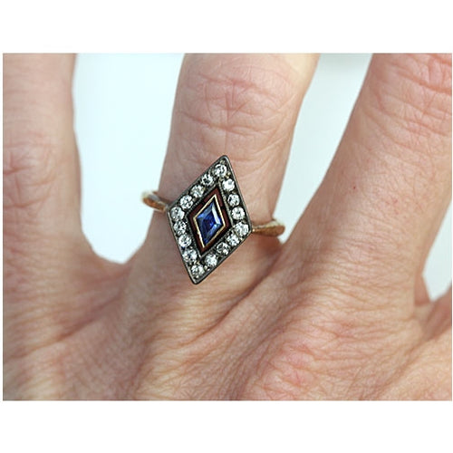 Vintage Kite Shaped Sapphire Engagement Ring