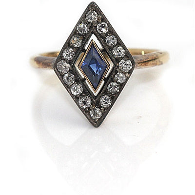 Vintage Kite Shaped Sapphire Engagement Ring - Vintage Diamond Ring