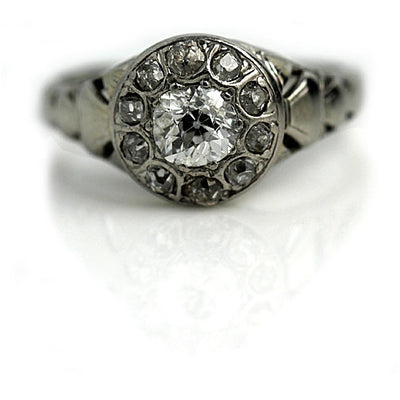Old Mine Cut Diamond Halo Engagement Ring