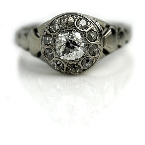 Mid-Century .50 Carat Mine Cut Diamond Halo Ring