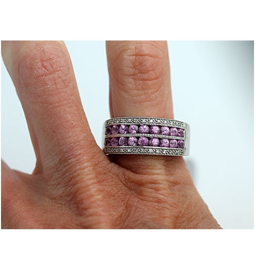 Estate Pink Sapphire and Diamond Wedding Band
