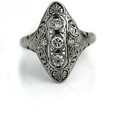 Antique Navette Diamond Cocktail Ring