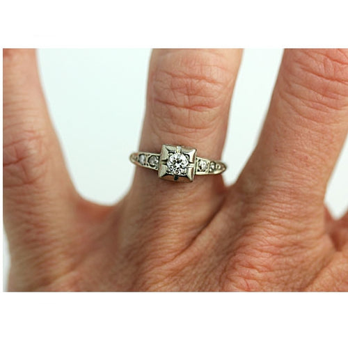 Petite Square Diamond Ring with Side Stones