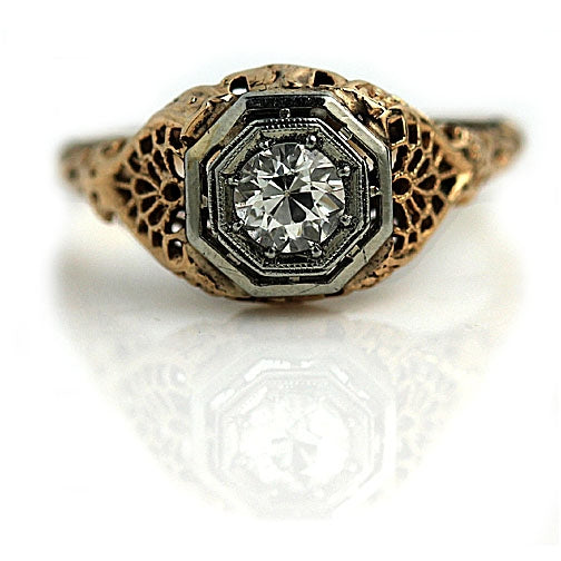 Vintage Two-Tone .35 Carat Diamond Engagement Ring