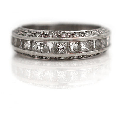 Invisible Set Princess Cut Diamond Half Eternity Band