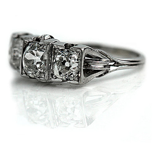 Low Profile Three Stone Engagement Ring
