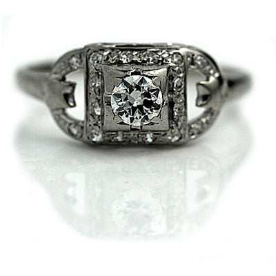 Bezel Set Rectangular Diamond Engagement Ring
