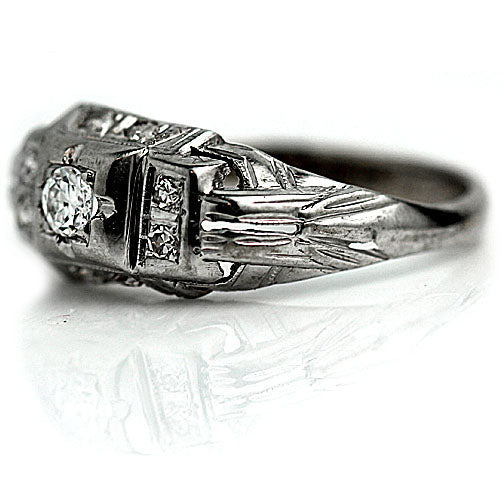 Art Deco White Gold Engagement Ring .15 Carat