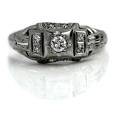 Antique Diamond Engagement Ring with Side Stones