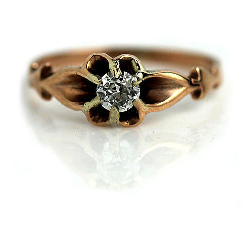 Victorian Engagement Ring with Knife Edge Prongs