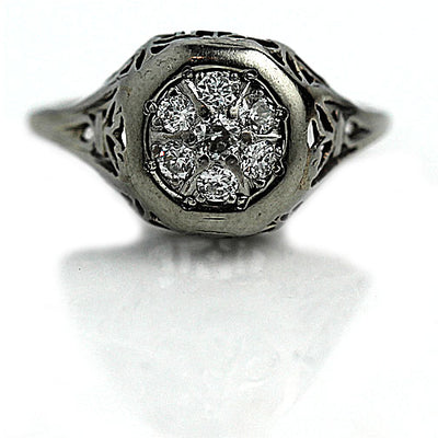 Antique White Gold Cluster Engagement Ring