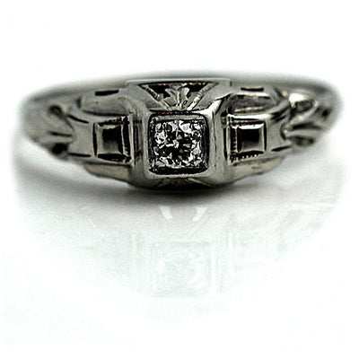 Dainty Engagement Ring with Filigree Engravings