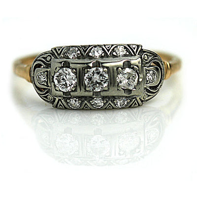 Antique Three Diamond Engagement Ring with Filigree